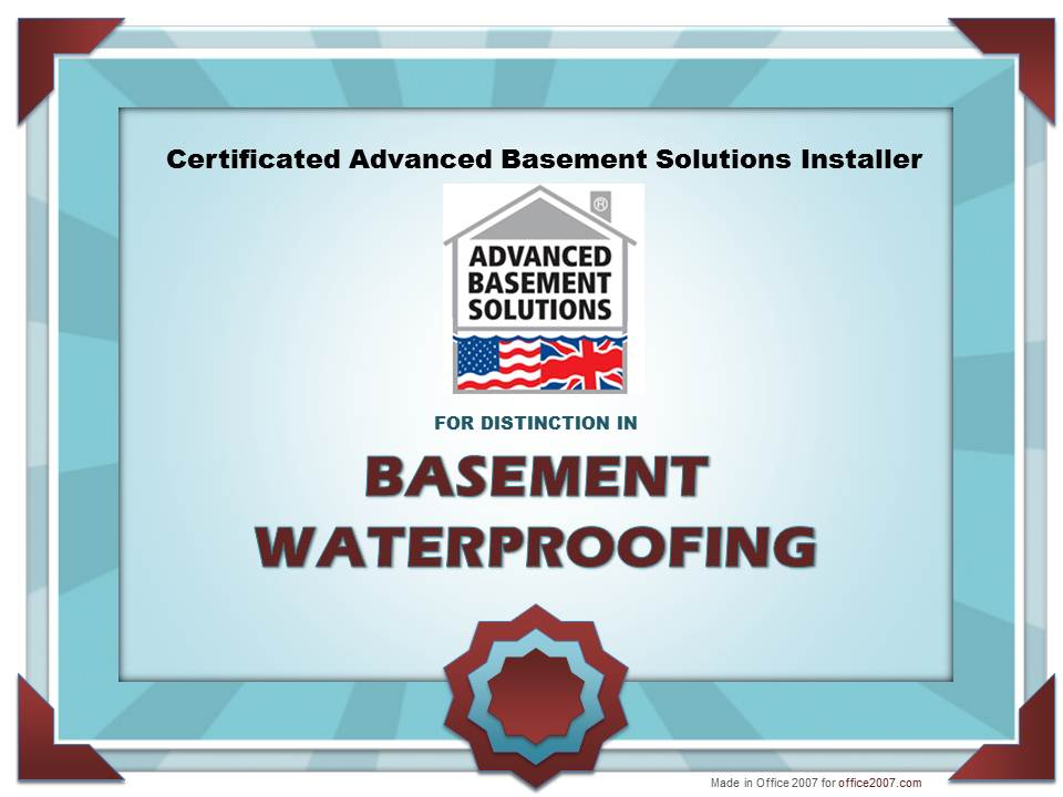 Advanced Basement Solutions Basement Waterproofing Certificate